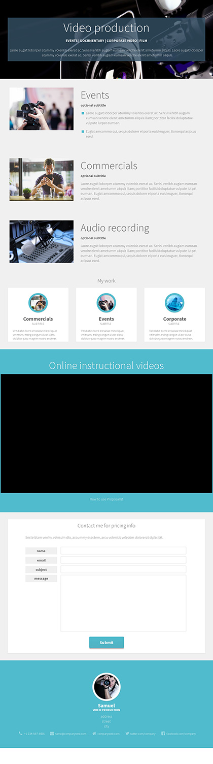 image preview of business proposal 'Video production sample'